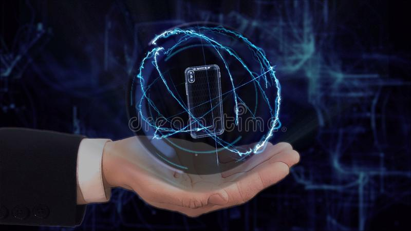 Painted hand shows concept hologram 3d smartphone on his hand stock images