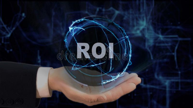 Painted hand shows concept hologram ROI on his hand. Drawn man in business suit with future technology screen and modern cosmic background royalty free stock images