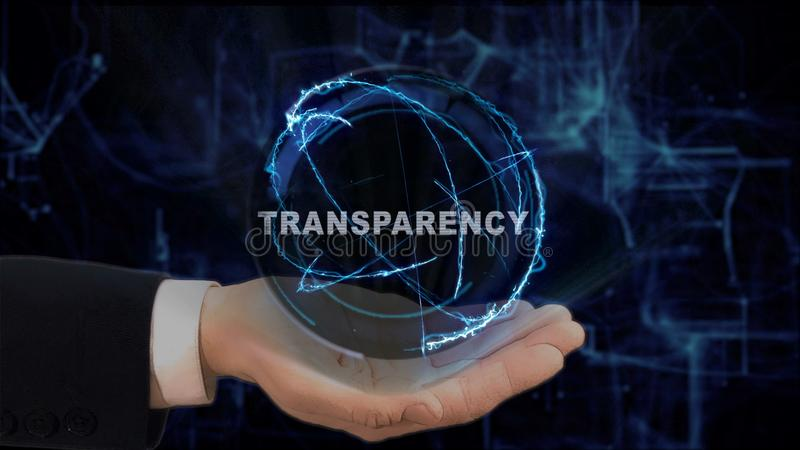 Painted hand shows concept hologram Transparency on his hand. Drawn man in business suit with future technology screen and modern cosmic background stock images