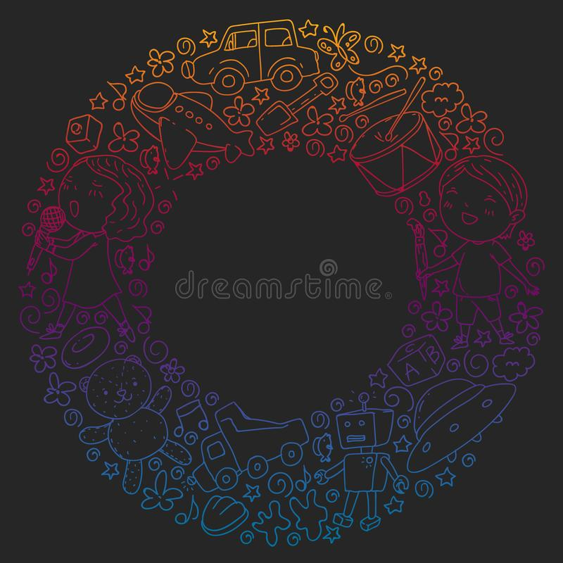 Painted by hand style seamless pattern on the theme of childhood. Vector illustration for children design. Drawing with vector illustration
