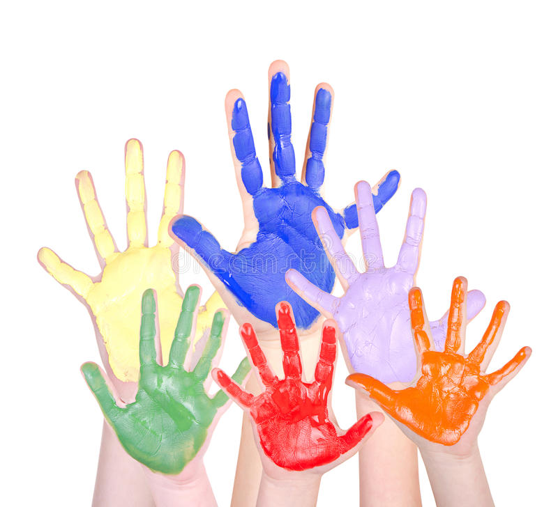 Painted hands raised