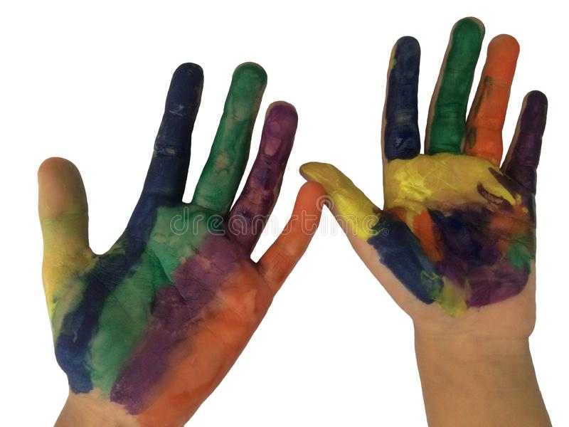 Painted hands with watercolor isolated on white background. stock images