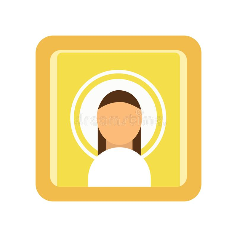 Painted icon of Saint man. Religious work of art. Male silhouette, Christian symbolism. Religion traditions of Orthodox royalty free illustration