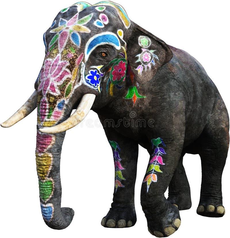 Painted India Elephant, India, Isolated vector illustration