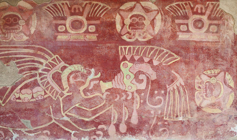 Painted interior of temple in Teotihuacan. Interior of a temple in Teotihuacan, Mexico, with religious figures painted in a wall royalty free stock images