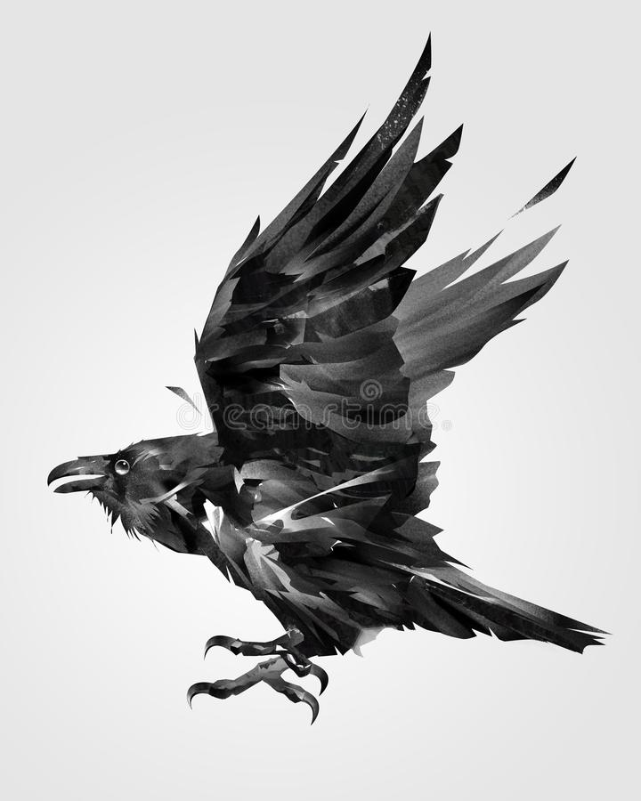 Painted isolated flying bird raven on the side royalty free illustration