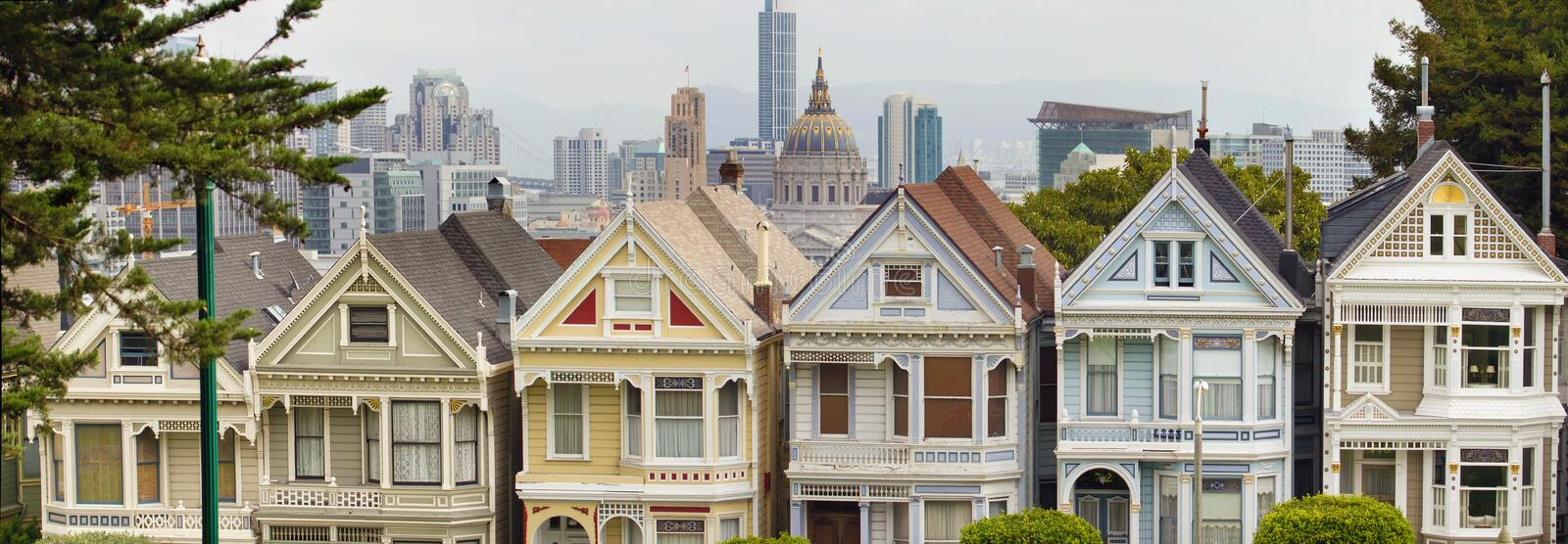 Painted Ladies Row Houses by Alamo Square royalty free stock images
