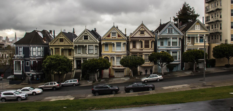 Painted Ladies at San Francisco, California.  stock images