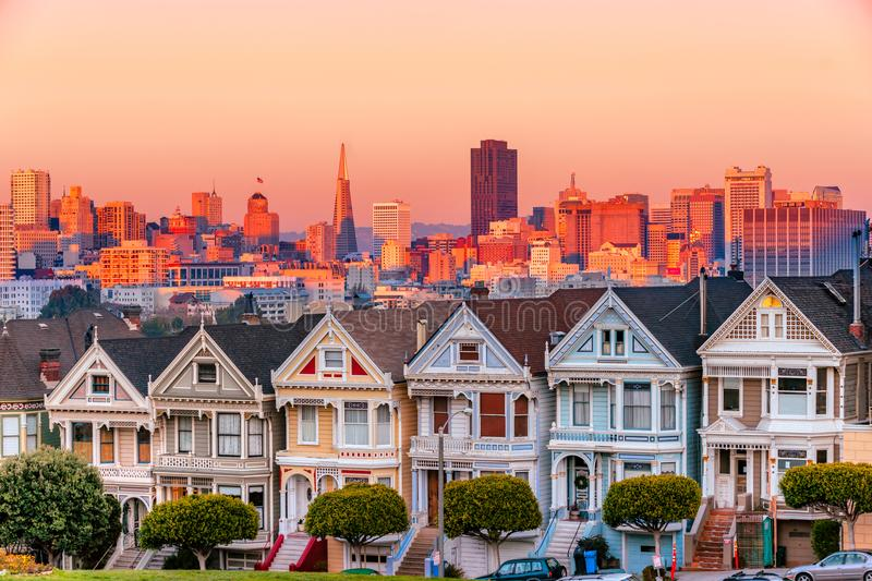 The Painted Ladies of San Francisco, California. The Painted Ladies of San Francisco at sunset, California, USA stock photography