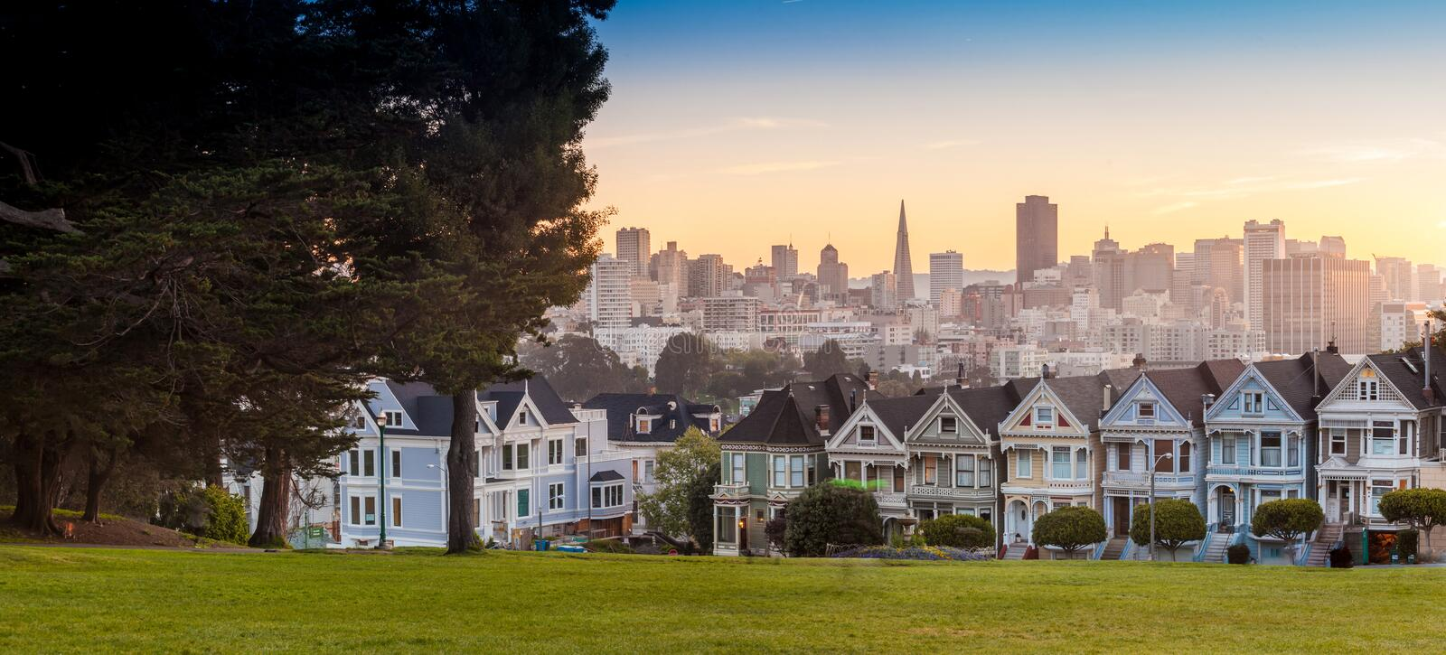 The Painted Ladies of San Francisco, USA. royalty free stock images