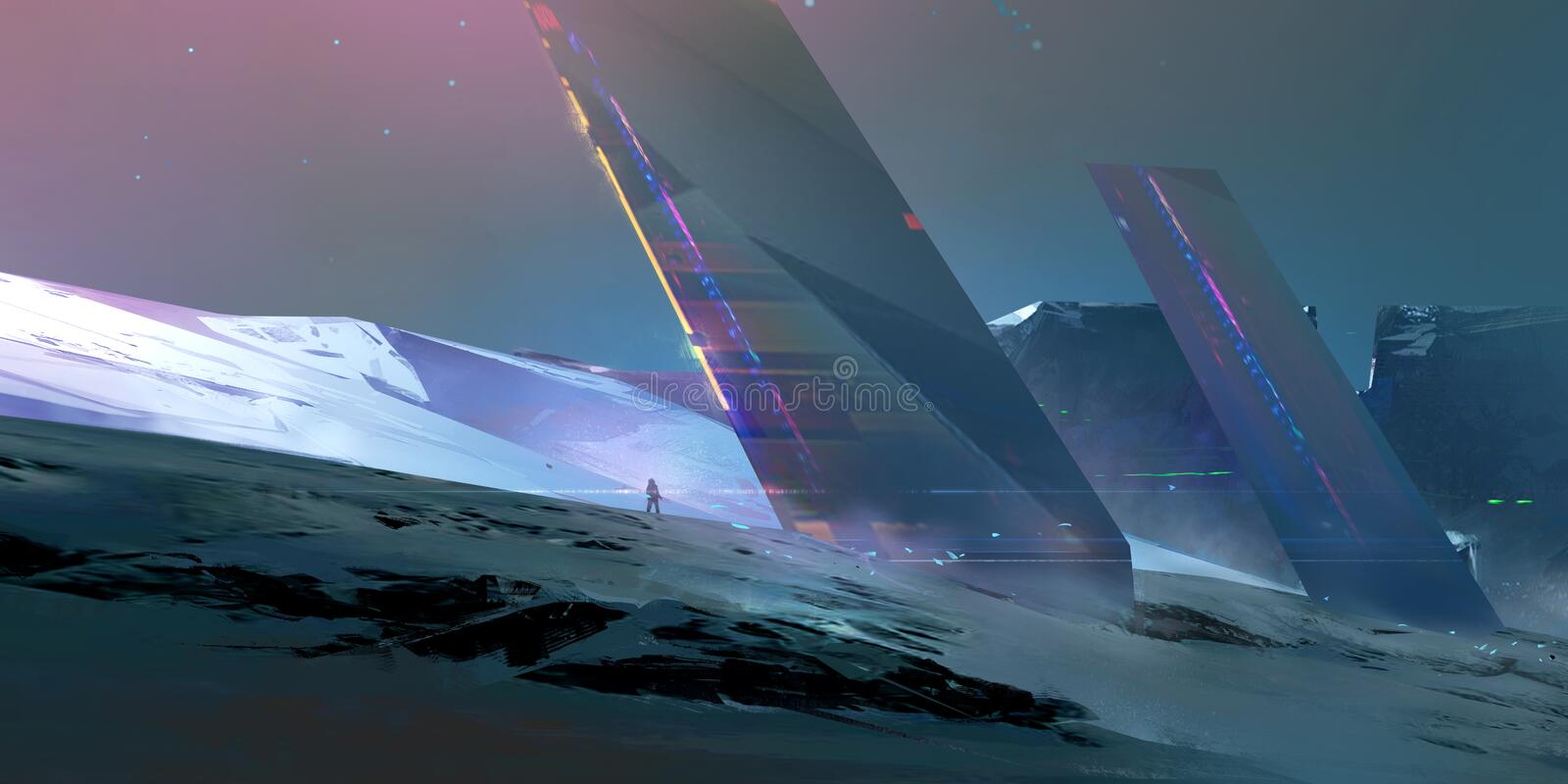 Painted landscape of the future on an alien planet stock illustration