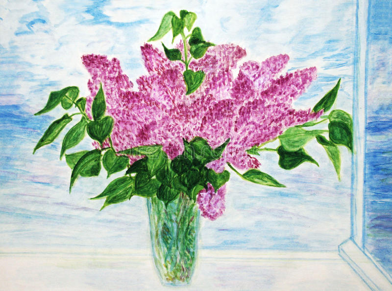 Download Painted lilac stock illustration. Illustration of painted - 13417428