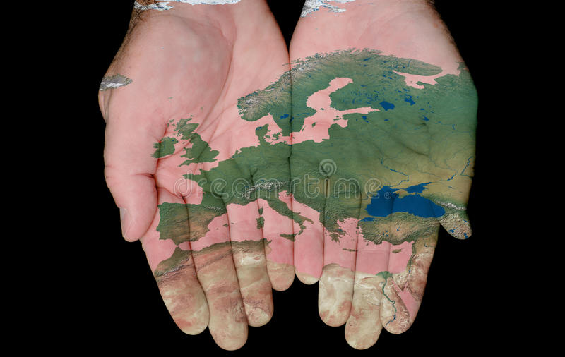 Download Painted Map Of Europe In Our Hands Stock Photo - Image: 18386082