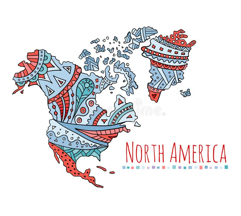 Painted map of North America. Doodle vector continent. Doodle map of North America. Patterned hand-drawn continent. Vector zenart royalty free illustration