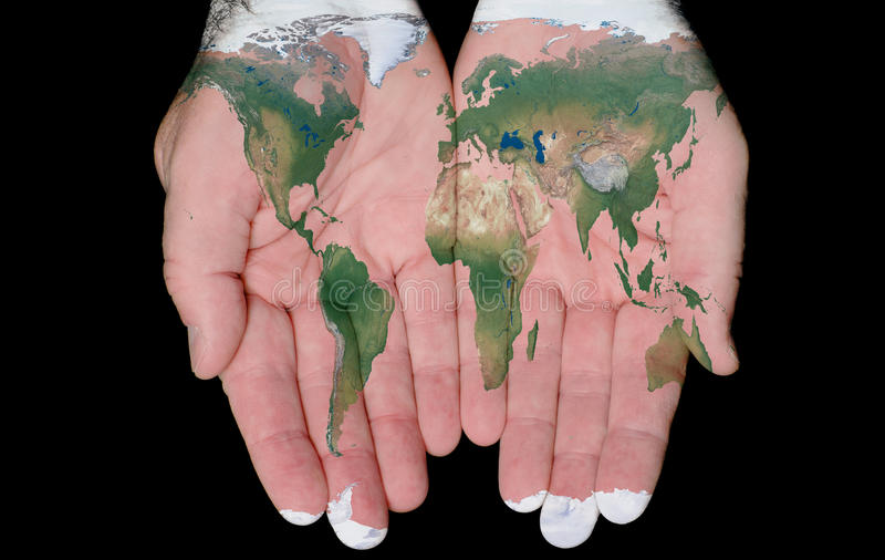 Painted Map Of The World In Our Hands stock photography