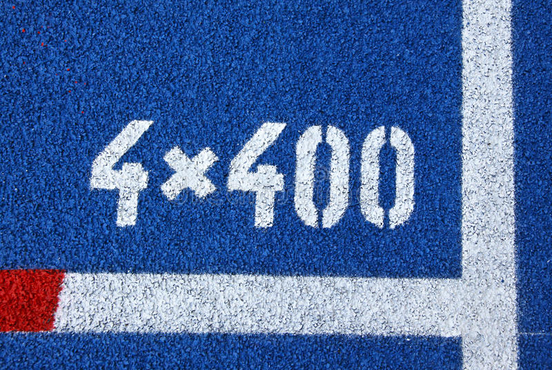 Painted Marks At The Starting Grid Of Relay Race Royalty Free Stock Image