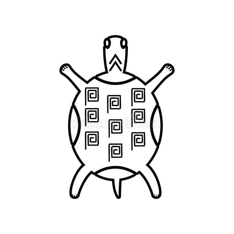 The painted Mexican tortoise icon. Element of Mexico for mobile concept and web apps icon. Outline, thin line icon for website royalty free illustration