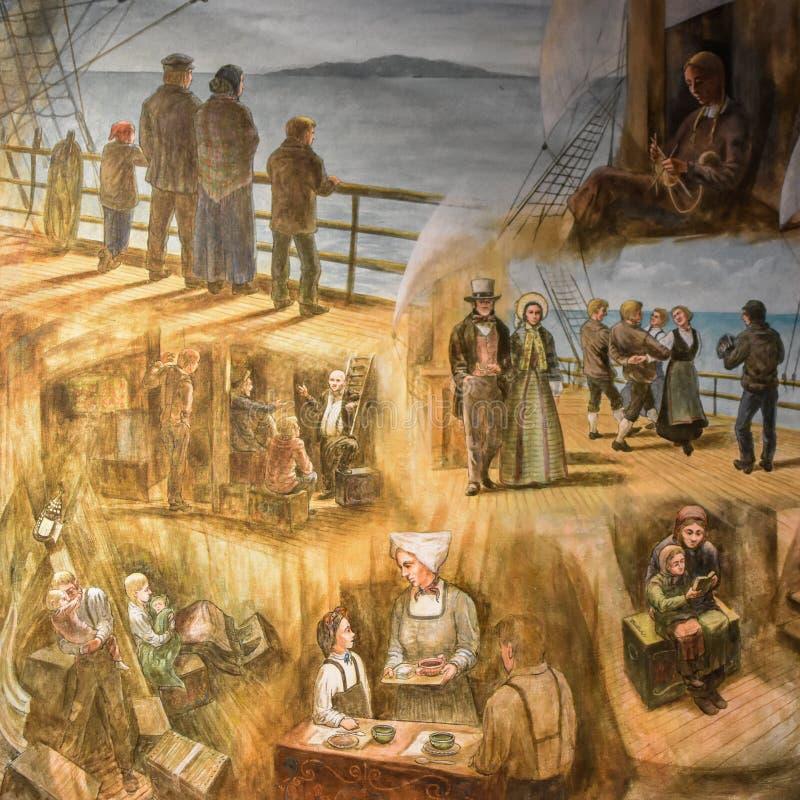 Norwegian Immigrants Coming to America Painting. A painted mural of Norwegian Immigrants coming to America. This mural is inside the Vesterheim Norwegian royalty free stock photo