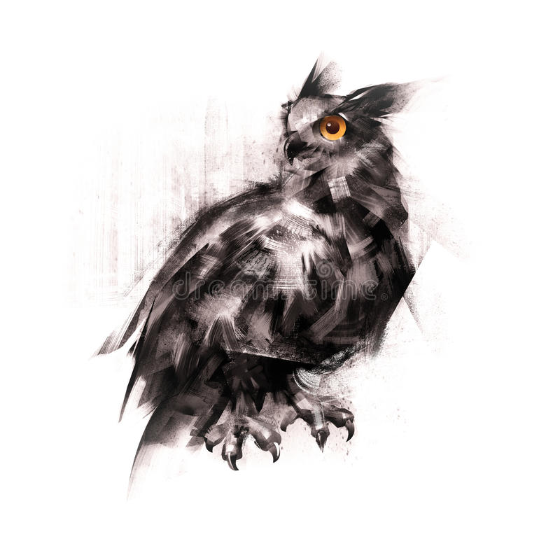 Painted an owl sitting on a white background sketch. Owl sitting on a white background sketch stock illustration