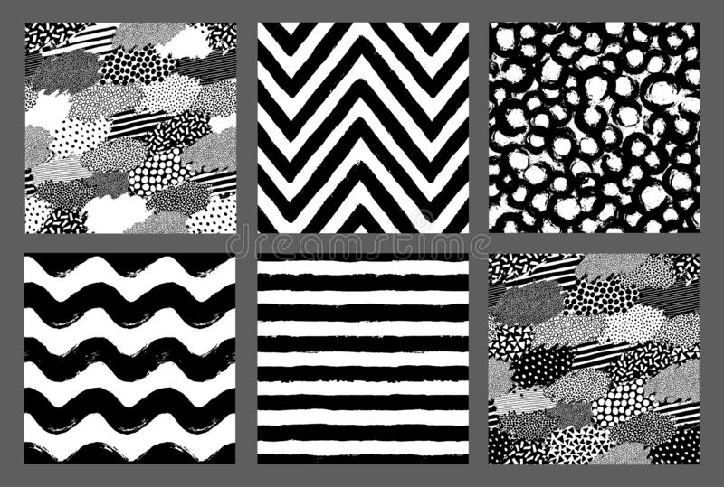 Painted Patterns Hand Drawn Backgrounds Dots Stripes Chevron vector illustration