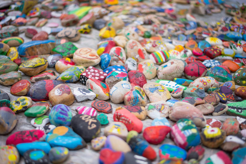 Painted pebbles stock images