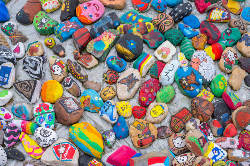 Painted pebbles stock photos