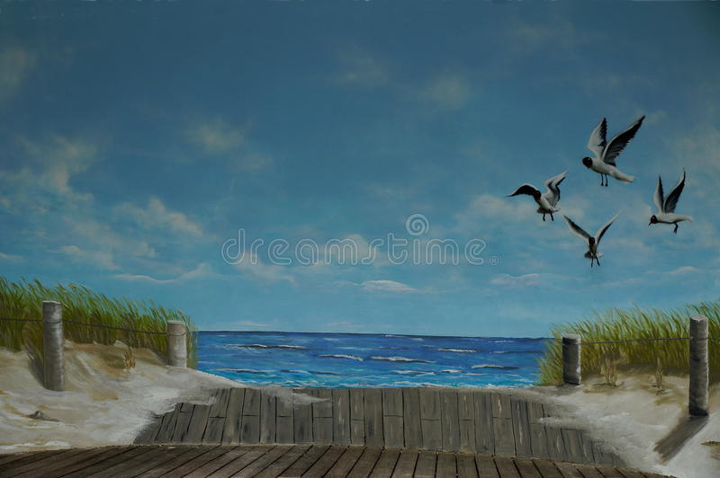 Painted picture of the band shell stock photography