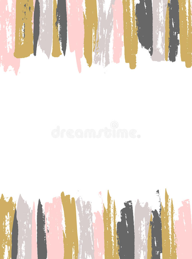 Painted Pink and Gold Striped Background. Vector template. stock illustration