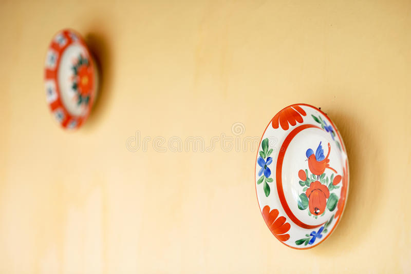 Painted plates. Isolated painted plates from Romania royalty free stock images