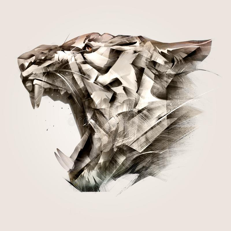 Painted portrait of animal tiger muzzle side. Sketch portrait of animal tiger muzzle side royalty free illustration