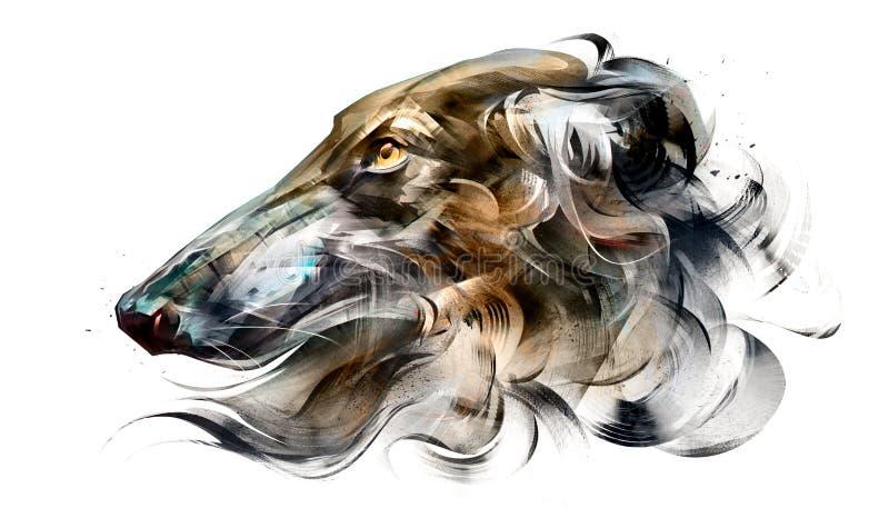 Painted portrait of dog Borzoi on white background. Art portrait of dog Borzoi on white background stock illustration