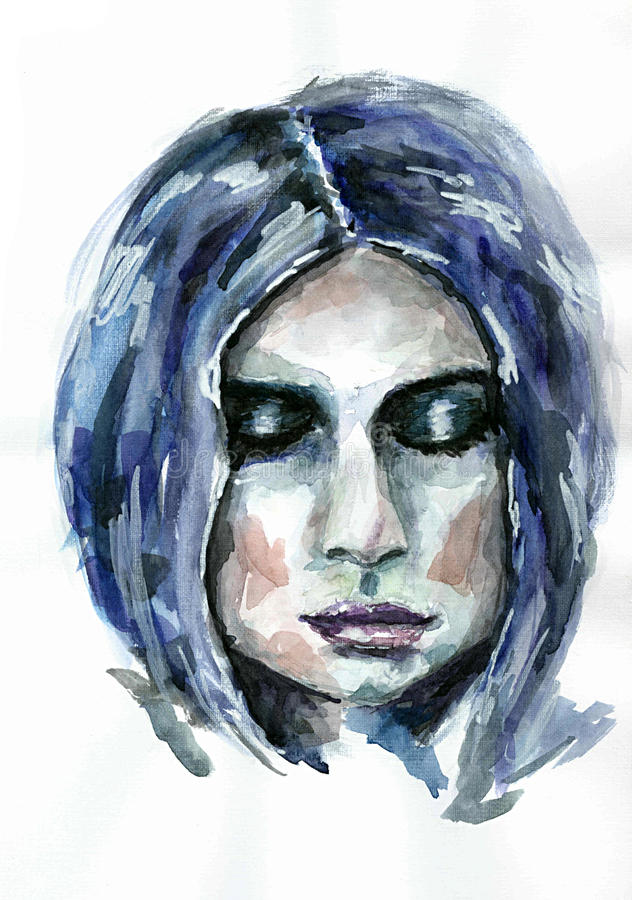 Painted portrait of a girl . royalty free stock images
