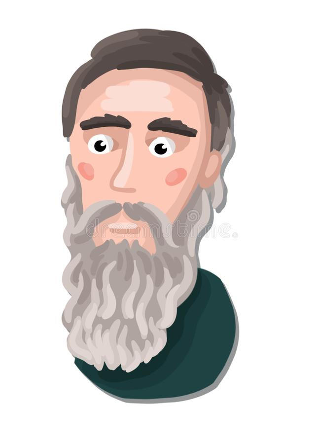 Painted portrait of a Russian classic writer royalty free stock image