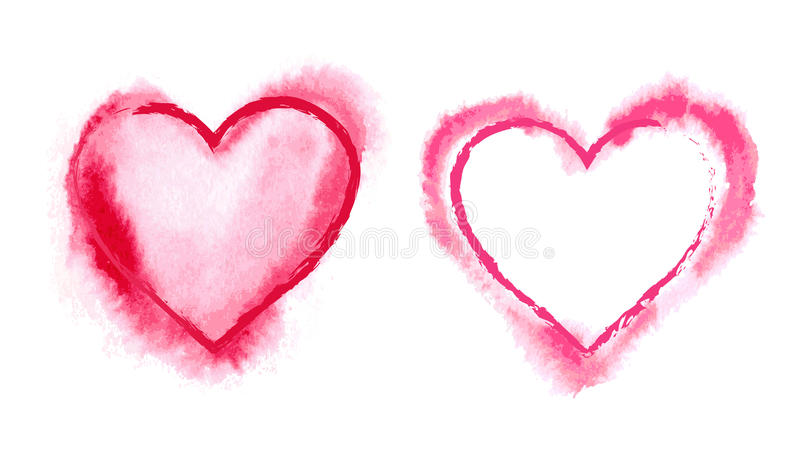 Painted Red Hearts. Hand drawn painted red hearts royalty free illustration