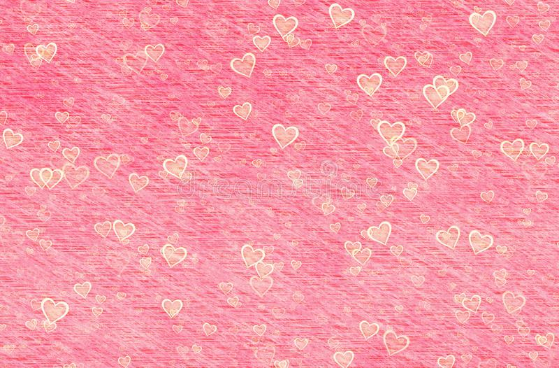 Painted red hearts on retro paper backgrounds stock photography