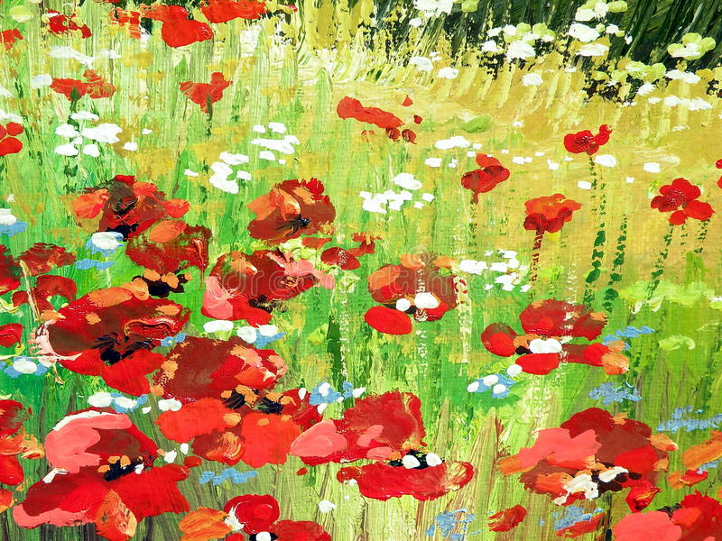 Painted red poppy. Oil colors painted abstract with red poppy stock illustration