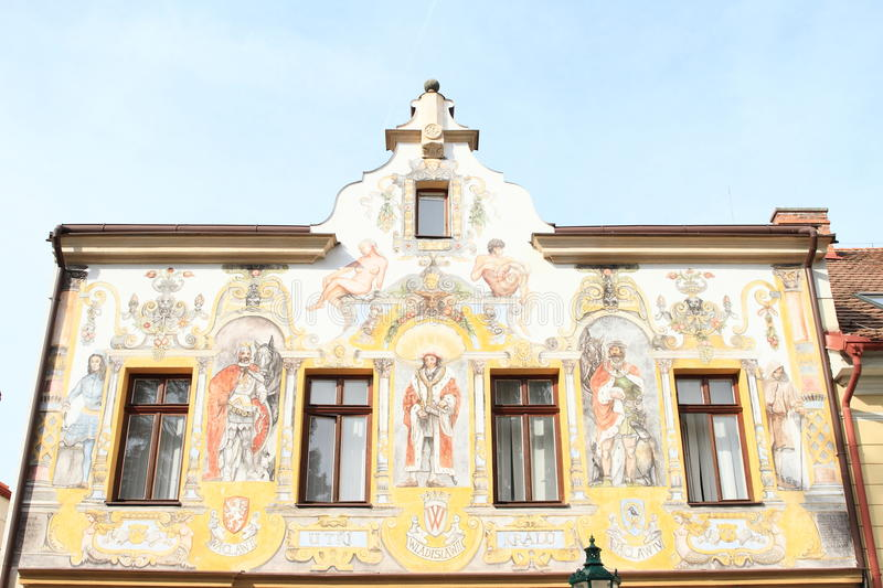 Painted renaissance house in Kutna Hora. Renaissance house with colorful paintings of saints in town Kutna Hora (Czech Republic stock photos