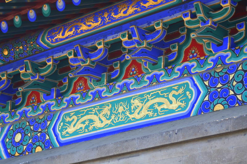 Painted roof supports on Chinese building. Painted dragons and other patterns on a historic building in the Forbidden City in Beijing, China stock photography