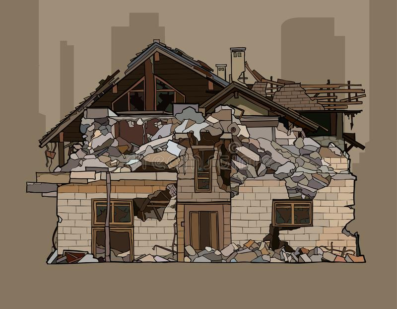 Painted a ruiné une maison de brique de deux étages illustration stock
