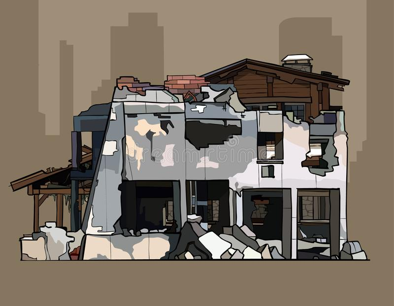 Painted ruins of brick whitewashed building. With wooden construction vector illustration