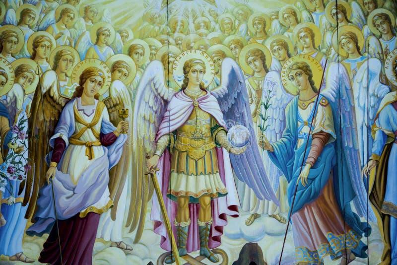 Painted saints. Nikolai on the wall stock photography