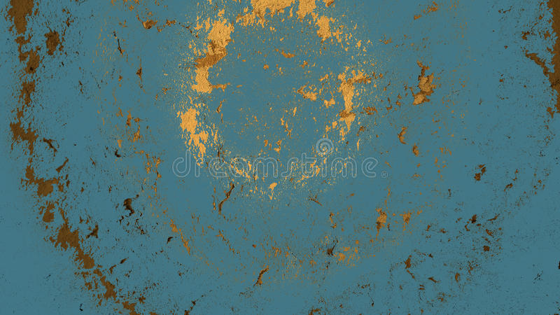 Painted shabby wood background. Blue shabby painted wall with sprays, attrition and spots stock photo