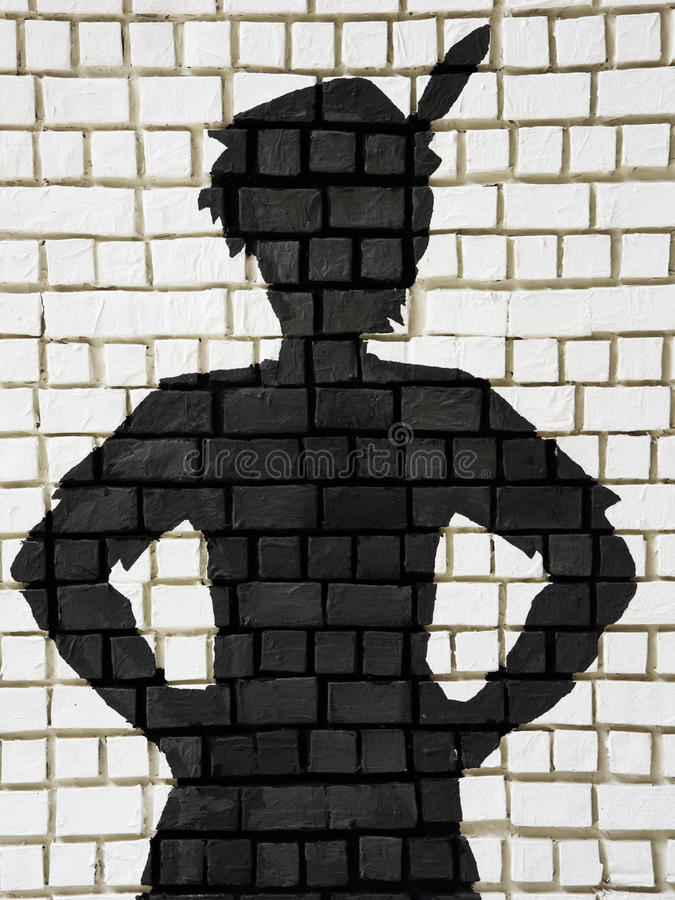 Free Painted Silhouette Peter Pan On Wall Royalty Free Stock Image - 80489216