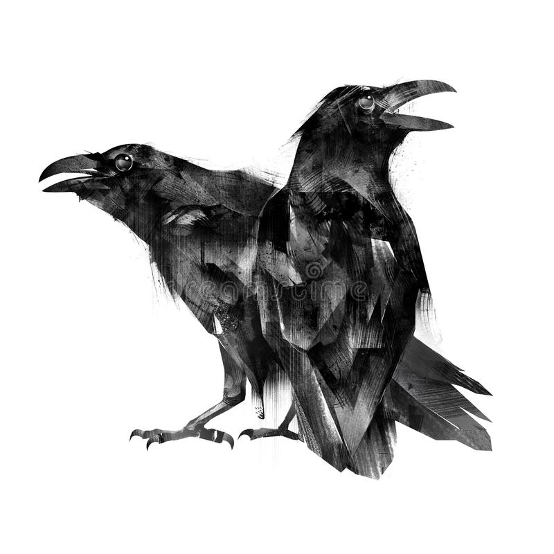 Painted sitting bird crows on a white background vector illustration