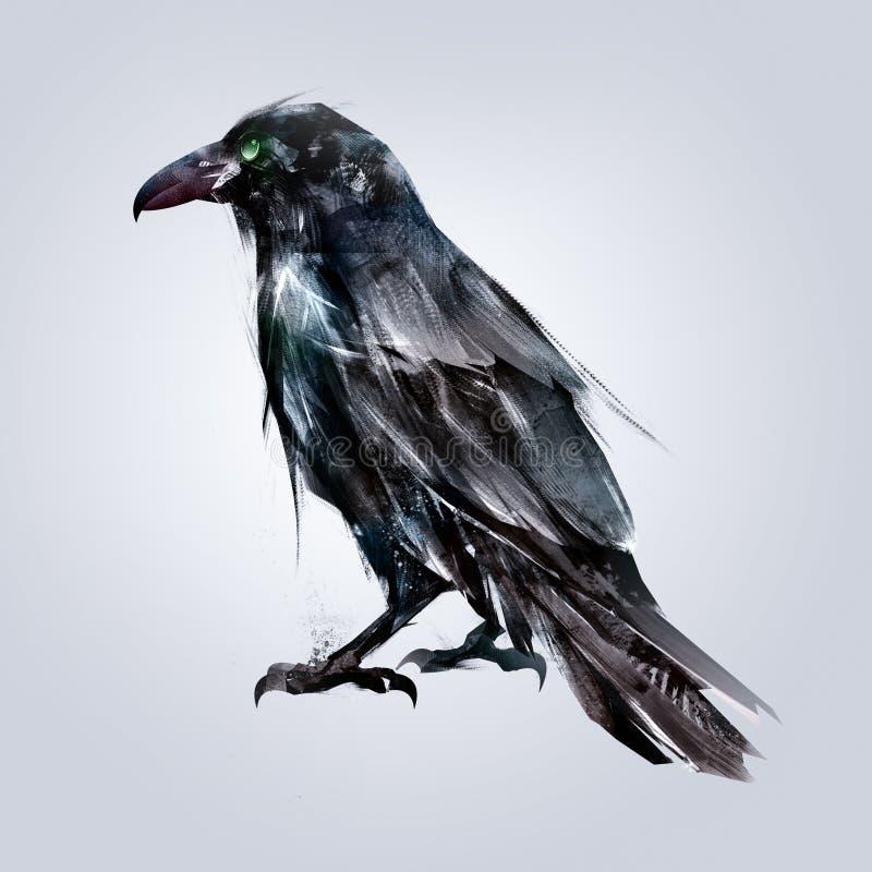 Free Painted Sitting Bird Raven Back Royalty Free Stock Photos - 97193628