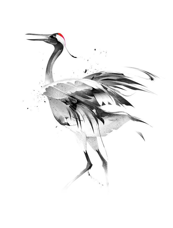 Painted stiliserade fågelkranen på vit bakgrund royaltyfri illustrationer
