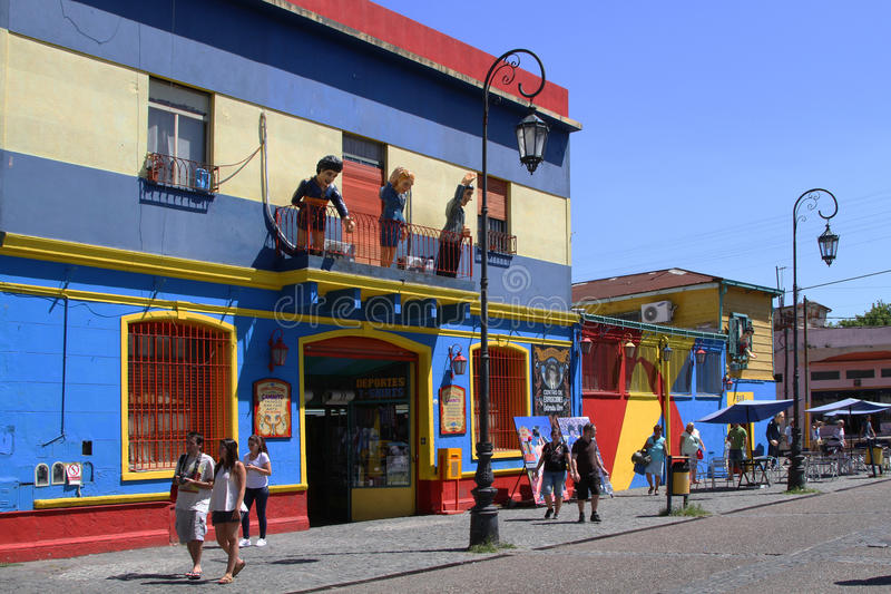 Painted Streets of La Boca. BUENOS AIRES, ARGENTINA, JANUARY 5, 2014 : Streets of La Boca. This district is a popular destination, with its colourful houses and royalty free stock images