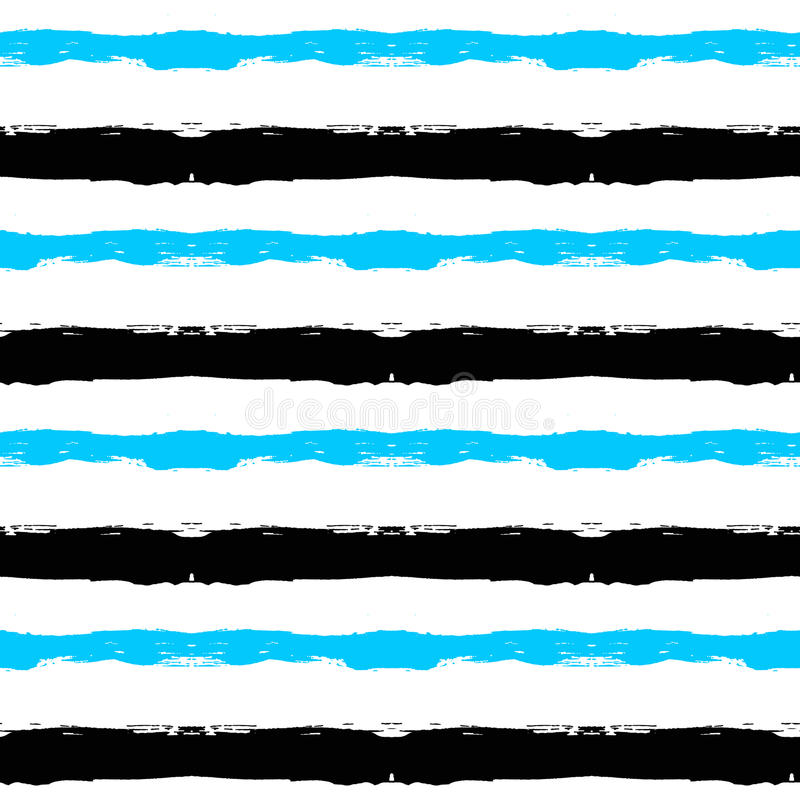 Painted Striped Blue Black Pattern stock illustration