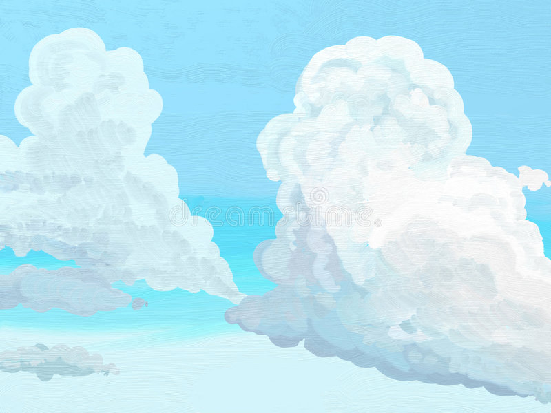 Painted Style Clouds. Painted style soft ethereal cumulus clouds background royalty free illustration