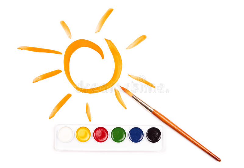 Download Painted sun and watercolor stock illustration. Image of childish - 28924221